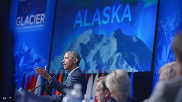 US President Barack Obama speaks at the Global Leadership in the Arctic: Cooperation, Innovation, Engagement and Resilience (GLACIER) Conference in the Denaina Civic and Convention Center on August 31, 2015 in Anchorage, Alaska. AFP PHOTO/MANDEL NGAN        (Photo credit should read MANDEL NGAN/AFP/Getty Images)