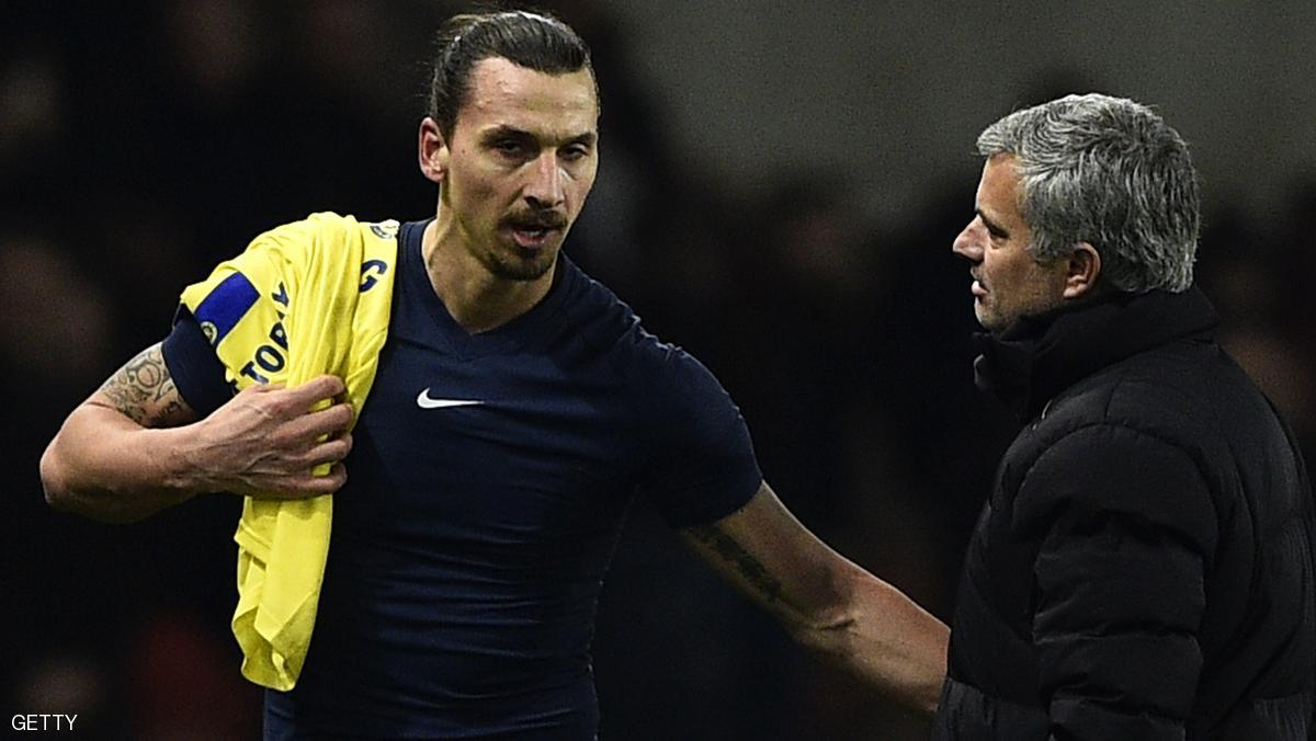 Paris Saint-Germain's Swedish midfielder Zlatan Ibrahimovic speaks with Chelsea's Portuguese manager Jose Mourinho (R) at the end of the UEFA Champions League round of 16 football match between Paris Saint-Germain (PSG) and Chelsea at the Parc des Princes stadium in Paris on February 17, 2015. AFP PHOTO / FRANCK FIFE        (Photo credit should read FRANCK FIFE/AFP/Getty Images)