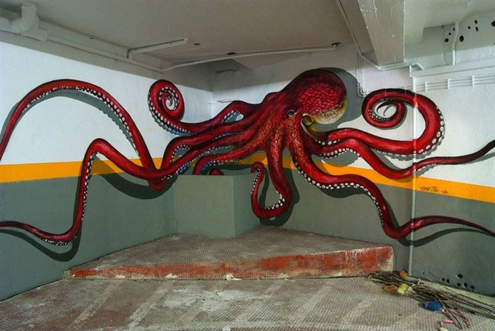 فنان يشعل مواقع التواصل بجرافيتي ثلاثي الأبعاد3
