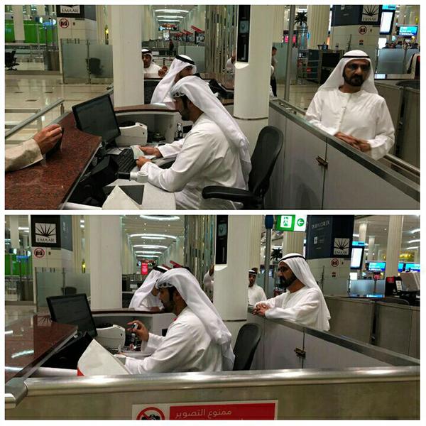 ماذا كان يفعل الموظف الذي راقبه محمد بن راشد بمطار دبي؟