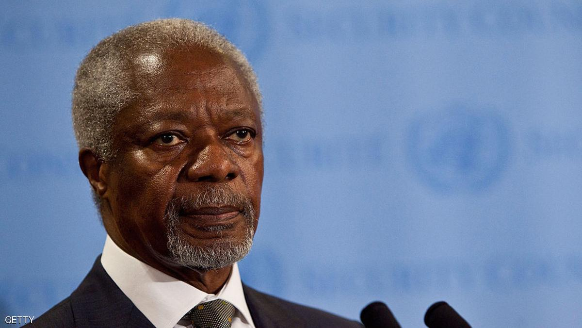 NEW YORK, NY - JUNE 07:  Joint Special Envoy for Syria and former United Nations (UN)  Secretary General Kofi Annan speaks during a news conference after the UN Security Council held consultations regarding the UN Supervision Mission in Syria on June 7, 2012 at United Nations Headquarters in New York City. Earlier today, UN monitors were shot at in Syria when they attempted to visit the scene of a reported massacre in Hama province.  (Photo by Andrew Burton/Getty Images)