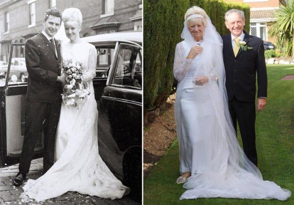 زوجان يحتفلان بعيد زواجهما الخمسين بنفس ملابس الزفاف