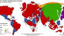 خريطة توضح توزع مواقع الإنترنت الأكثر زيارة بحسب الدول + صورة
