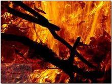 حريق يقضي على (5) متاجر بالمنطقة الصناعية