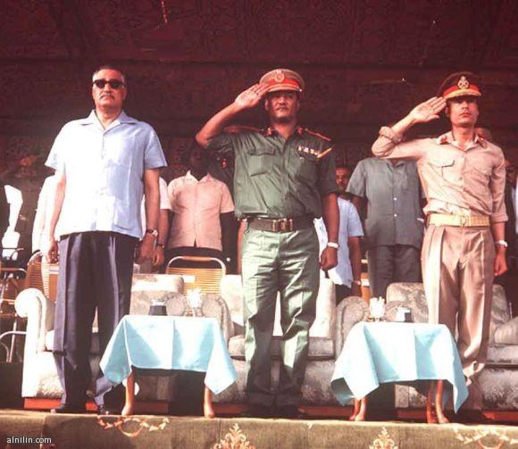 الرؤساء معمر القذافي ,جعفر نميري وجمال عبد الناصر